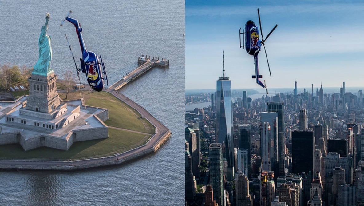 Aerial Photo Series Shows Helicopter Performing Flips and Rolls Over NYC