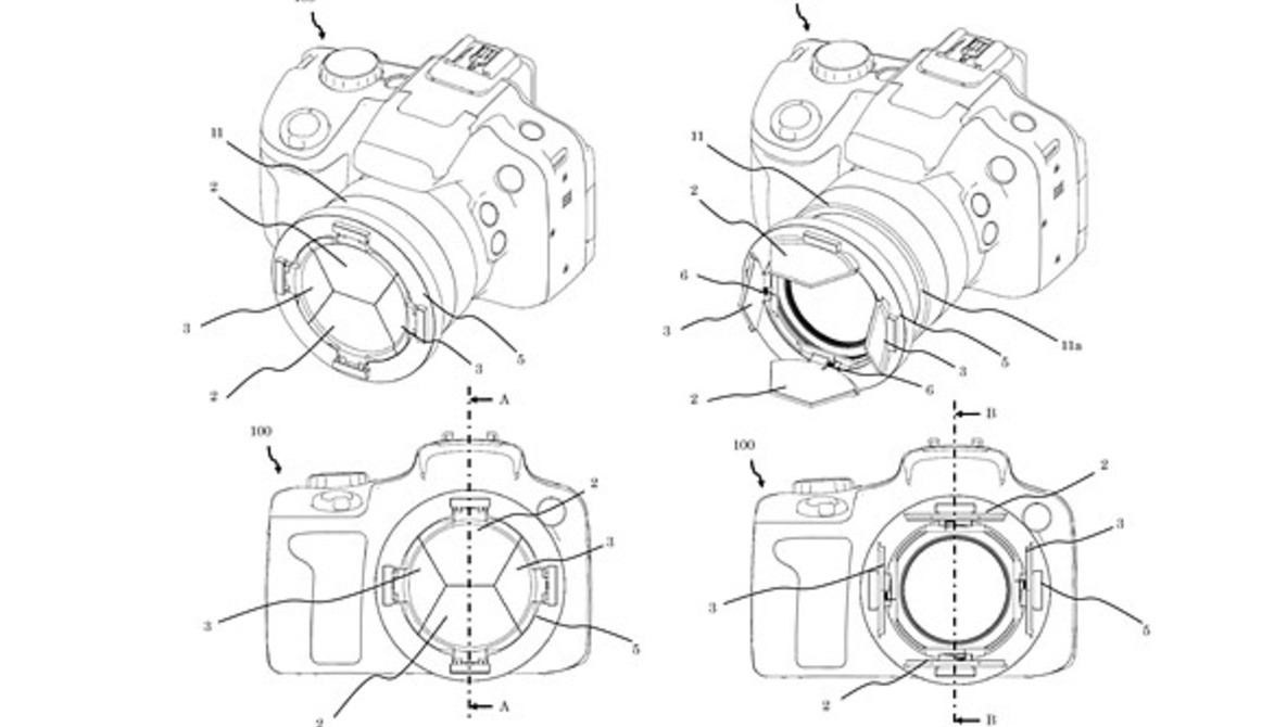 Canon Files Patent for Barndoor-Style Lens Cap Mechanism That Is Permanently Attached