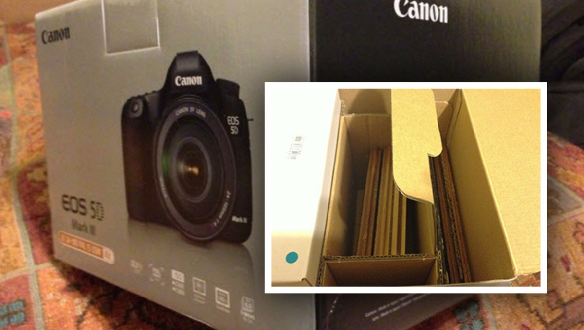 New 5D Mark III Box Arrives Full of Laminate Flooring, No Camera
