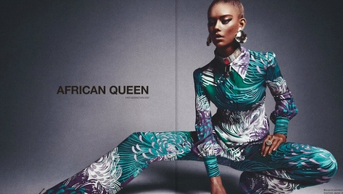 White Girl Poses for African Queen Shoot