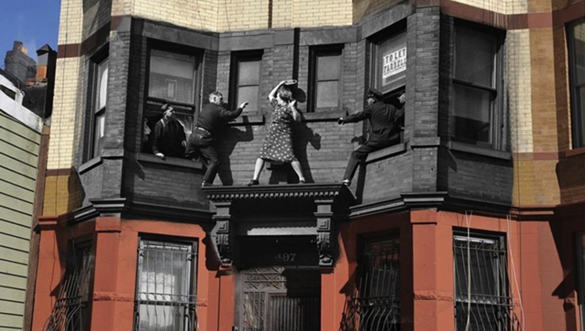 Vintage Crime Scene Photos Superimposed on Modern NY Streets