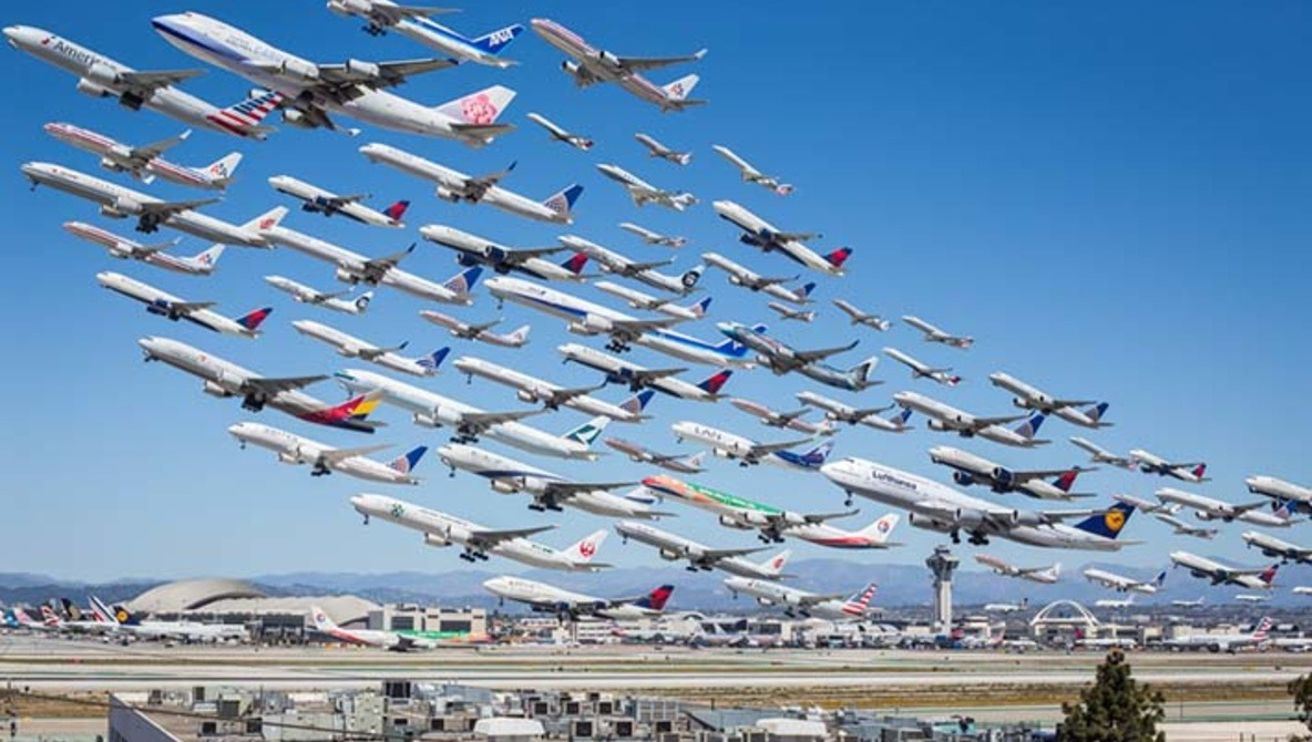 How I Photographed 'Wake Turbulence:' Eight Hours Of Airplane Takeoffs In One Shot