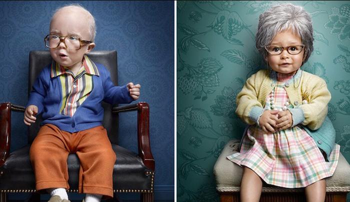 Hilarious Portrait Series Features Babies Dressed as Elderly People