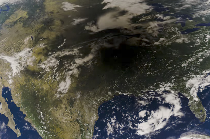 Watch From Space as Lightning Lights Up the Moon's Shadow During the Eclipse