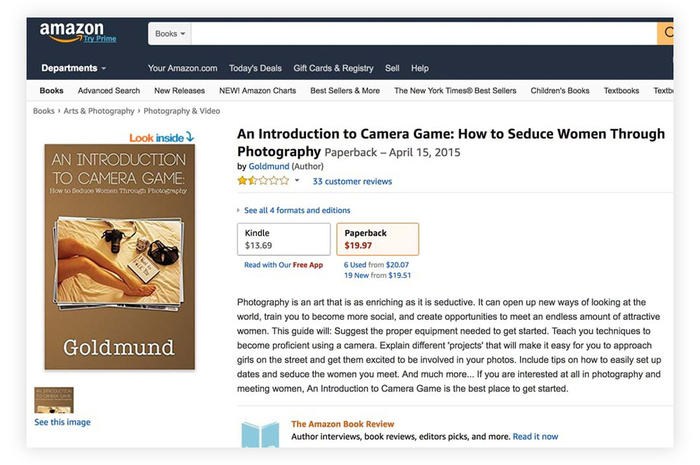 Amazon Is Selling a Book Titled 'How to Seduce Women Through Photography'