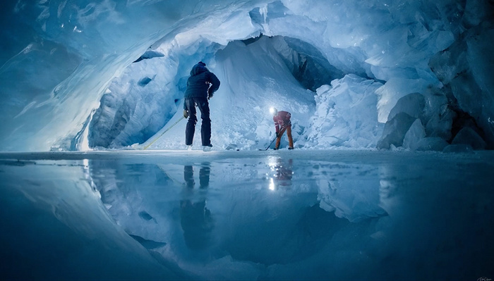 These Unique Hockey Photos Were Shot Inside of a Glacier
