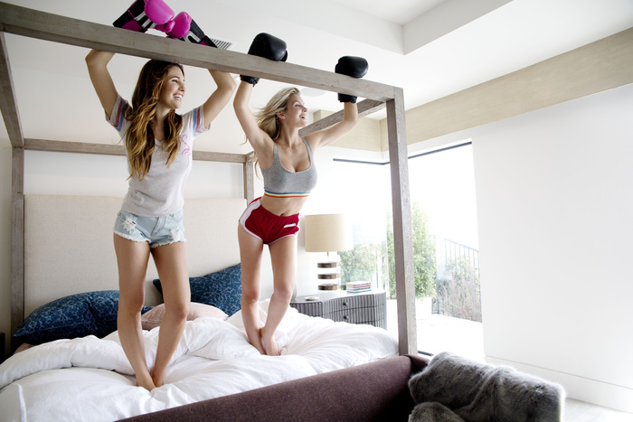 Boxing on the bed