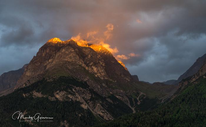 Piz Lischana on fire