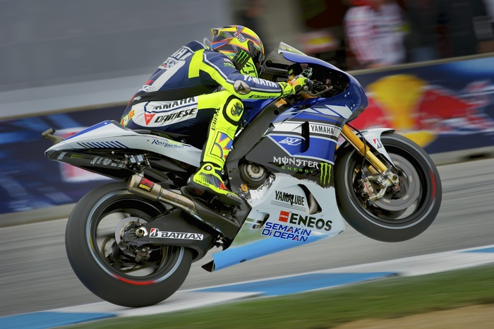 Valentino Rossi exiting turn 11.
