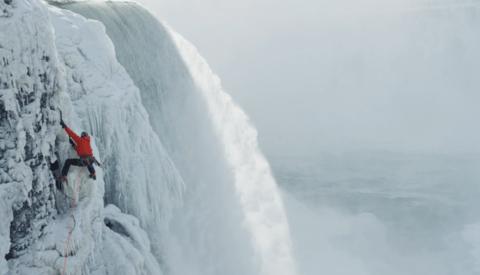 Incredible Imagery of a Climber Scaling Frozen Niagara Falls