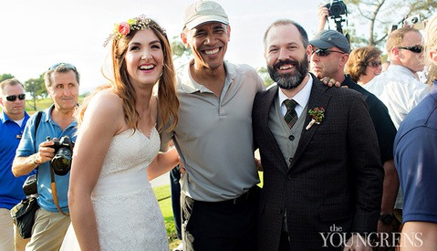 President Obama Greets Couple before Wedding Ceremony