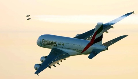 Behind-the-Scenes Video for Flying Jetpacks Around a Massive Emirates A380 Plane Over Dubai