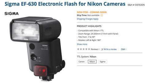 New Sigma EF-630 Flash Coming Soon