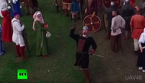 Video Shows Man Taking Down Drone With a Well-Aimed Medieval Spear