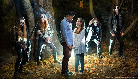 Wedding Photographer Has an Unexpected Guest at Engagement Shoot: A Black Metal Band