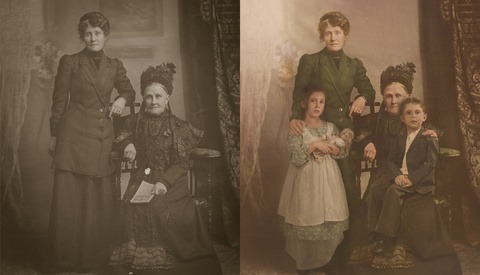 How One Artist Used Photoshop to Send Her Kids Back in Time to Meet Their Great Great Great Grandmother