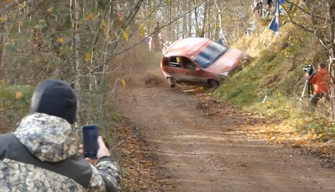 Photographer Has a Close Call With Flipping Car