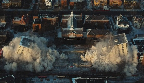 Capturing and Editing a Cinematic Building Demolition With a Drone