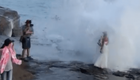 Couple Soaked by Huge Wave During Wedding Day Photo Session