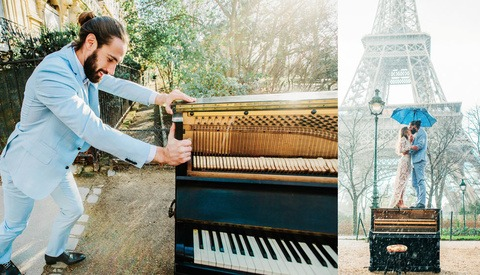 Wedding Photographer Documents Man Pushing Piano to the Eiffel Tower for His Big Day