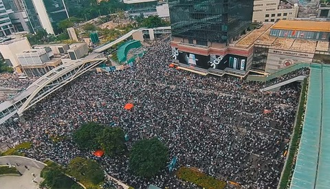 Video Captured by Micro Drone Shows Massive Protest in Hong Kong