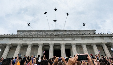 Trump Tweets Blurry Smartphone Photos of Salute to America and His Followers Love It