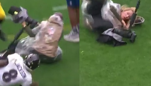NFL Photographer Knocked Down by Player Who Later Messages Her to Check She's OK