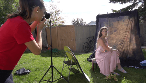 Behind the Scenes on a Backyard Studio Shoot