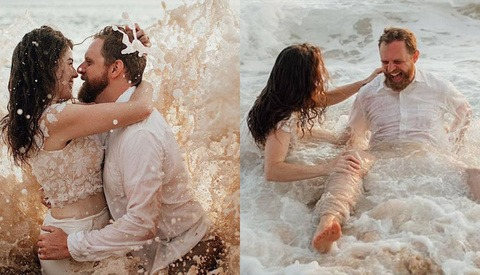 Newlywed Bride and Groom Soaked After Being Hit by Huge Wave During Honeymoon Shoot