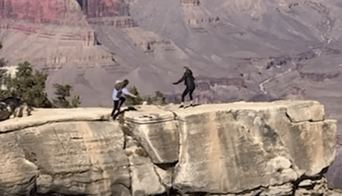 Video Catches the Scary Moment a Woman Nearly Falls Into the Grand Canyon While Taking a Picture of Her Mother
