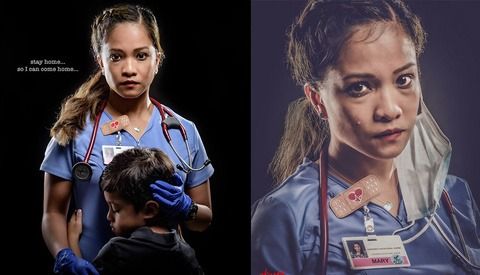 Photographer Takes Powerful Portraits of His Nurse Wife to Remind Us Why We Need to Stay at Home