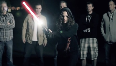 Lindsay Adler wields a lightsaber