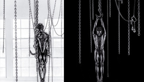 Von Wong Photographs a Body Painted Nude, Suspended from Chains