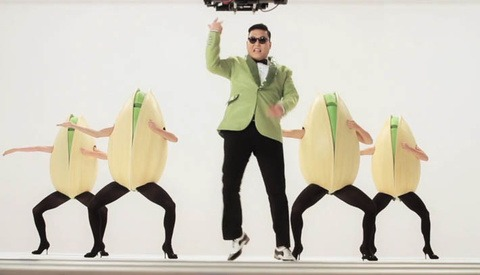 BTS of the Pistachio Super Bowl Ad Performed by PSY