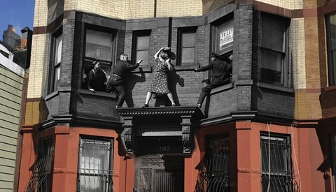 Vintage Crime Scene Photos Superimposed on Modern NY Streets (Warning: Graphic)