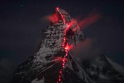 How A Photographer And Team Of Climbers Lit Up The Matterhorn Mountain