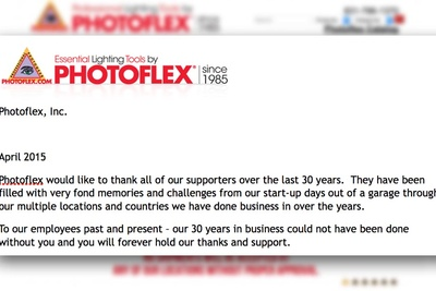 Photoflex Releases An Official Statment On The Sudden Closing Of Business