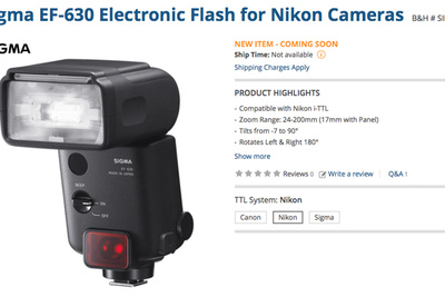 New Sigma EF-630 Flash Coming Soon