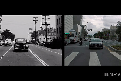Fascinating Split-Screen Film Shows Two Versions of Los Angeles Seventy Years Apart