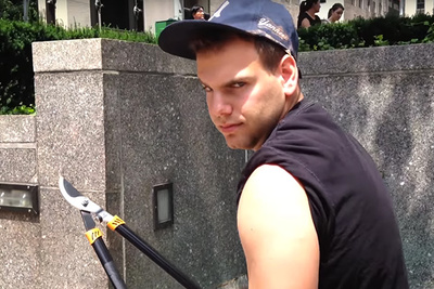 Guy Goes Around NYC Chopping Selfie Sticks in This (Hopefully Staged) Video