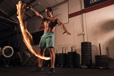 Fire Trails Mixed with Fitness Photography