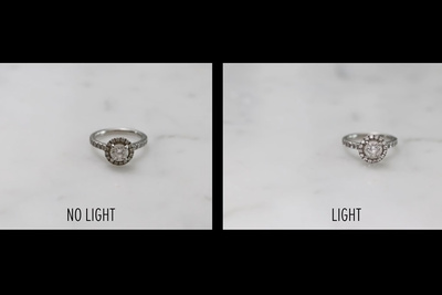 engagement ring lit with ring light