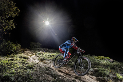 Red Bull Sent a Mountain Biker on a Downhill Night Ride, Lit Only by a Single Drone