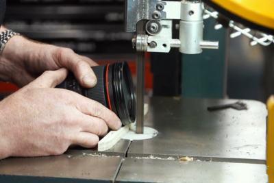 Adam Savage Removes Lens Filter with Band Saw