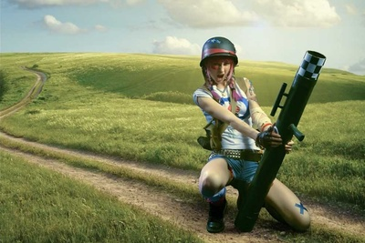 girl in field holding bazooka