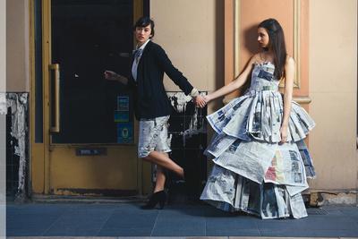Youness Valo Bouslame Shoots Paper Dresses
