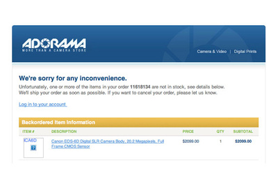 Adorama Shows Pricing of Unannounced Canon 6D