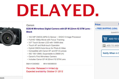 Canon EOS M Shipping Delayed Until October 31