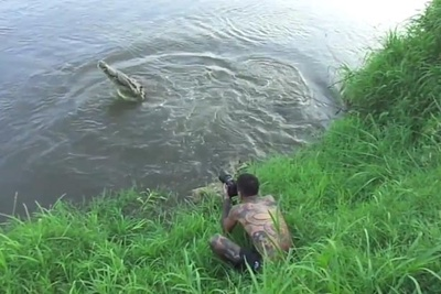 Photographer Narrowly Escapes Crocodile Attack