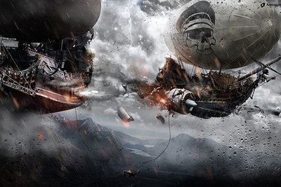 Watch This Time Lapse of a Seven Hour Super-Composition of a Fantasy Airship Battle